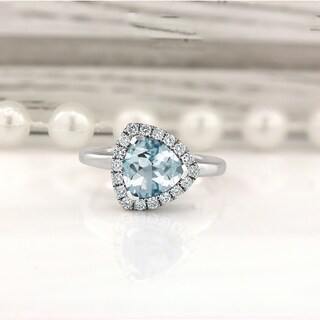14k Gold 1 1/4ct Fancy Trillion-Cut Aquamarine and 1/4ct TDW Diamond Halo Engagement Ring by Auriya
