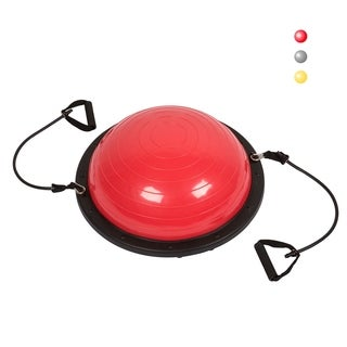 "Kinbor 23"" Large Yoga Balance Ball Trainer w/ Resistance Bands & Pump Exercise Workout - Red"