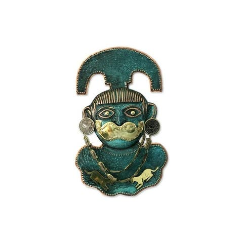 "Handmade The Lord Of Sipan Copper And Bronze Mask (Peru) - 6.75"" x 11"""