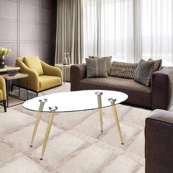 Shop Modern Oval Living Room Furniture Glass Top Coffee
