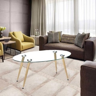 Modern Oval Living Room Furniture Glass Top Coffee Table w/Wood Legs