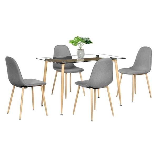 Shop 5 Piece Furniture Tempered Glass Dining Table W 4