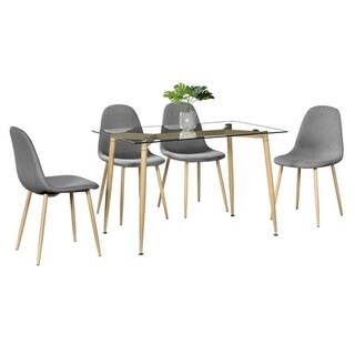 5 Piece Furniture Tempered Glass Dining Table Set w/4 Chairs