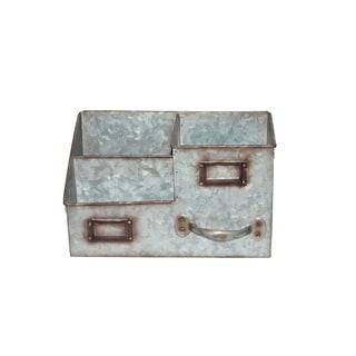 Three Bin Galvanized Metal Desk Organiser with Attached Label Slots, Gray