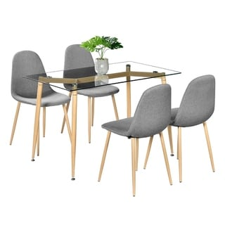 Kitchen Dining Room Furniture Dining Table with 4Pcs Wood Chairs Set