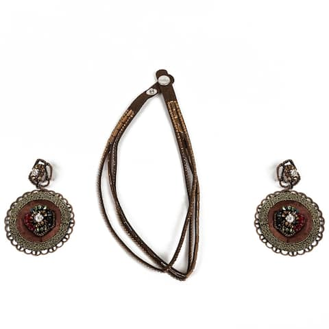 Crystal Wrap Bracelet in Faux Suede with Matching Earring by Gempro