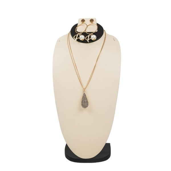 7fcd6b179f Shop Retro Drop Shape Bling Pendant Necklace with Matching Post Drop ...