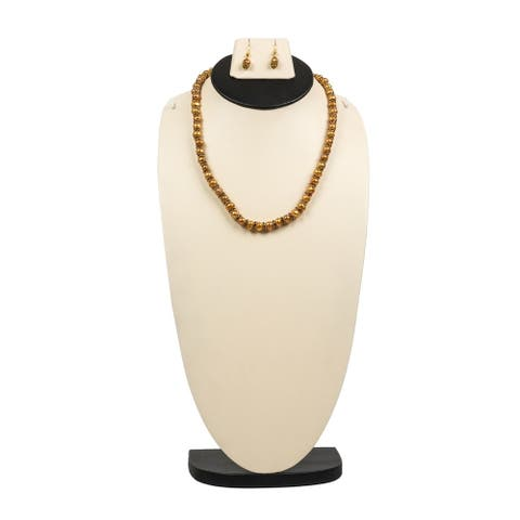 Beautiful Golden Fresh Water Pearl Necklace Earring Set by Gempro