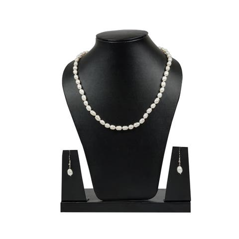 Genuine White Fresh Water Pearl Necklace Set by Gempro