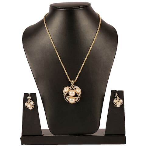 Stylish Fashion Pearl Pendant Earring Set by Gempro - GOLD