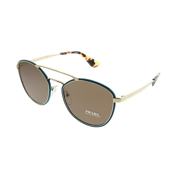 129af3f7baf8 Prada Cat-Eye PR 63TS SL58C1 Women Green Gold Frame Brown Lens Sunglasses