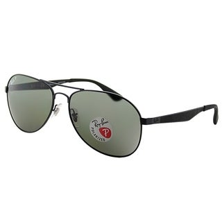 Ray-Ban Aviator RB 3549 006/9A Unisex Matte Black Frame Green Polarized Lens Sunglasses