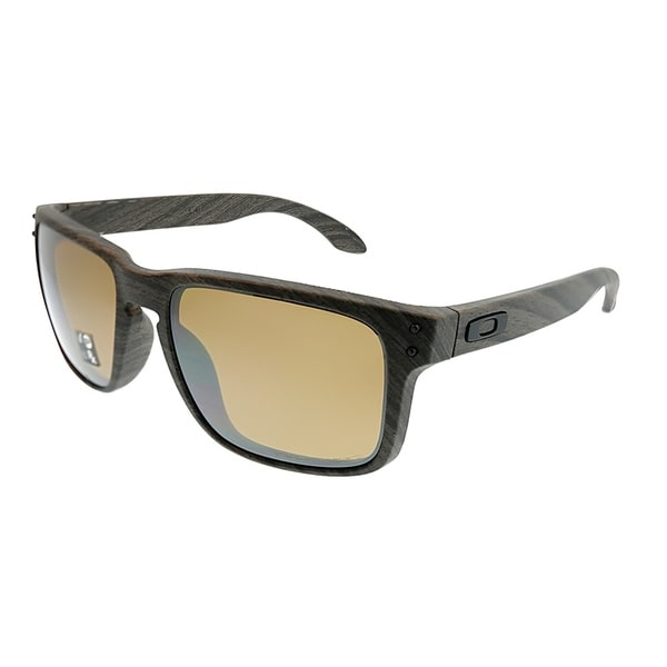 ddc952beed9 Oakley Square OO 9102 Holbrook A3 Unisex Woodgrain Frame TungstenIridium  Polarized Lens Sunglasses