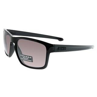 Oakley Rectangle OO 9262 Silver 07 Unisex Polished Black Frame Prizm Grey Lens Sunglasses