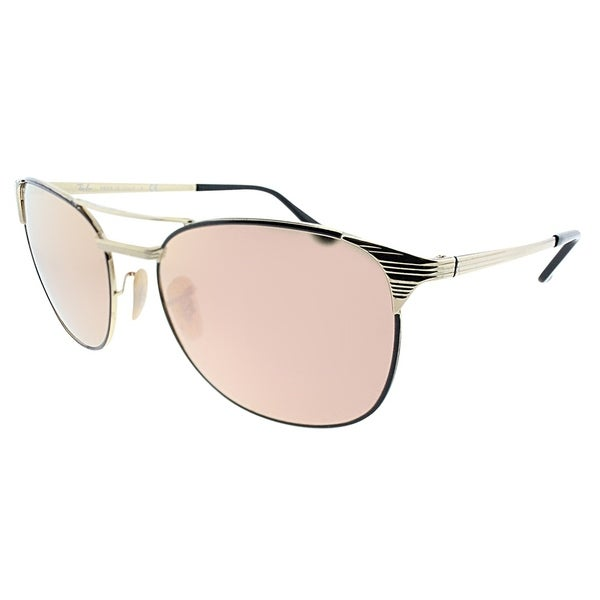5ced0216fb Ray-Ban Square RB 3429M Signet 9000Z2 Unisex Gold Black Frame Copper Flash  Lens Sunglasses