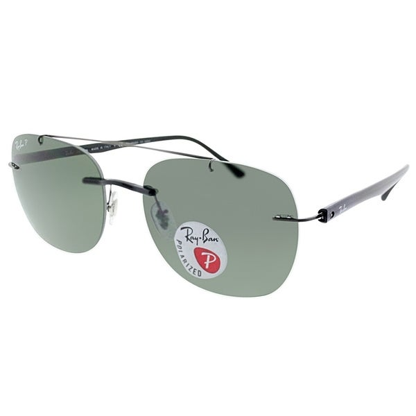 64fdc7d124 Ray-Ban Rimless RB 4280 Aviator 601 9A Unisex Black Frame Green Polarized  Lens