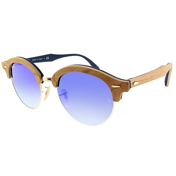 8024855600c76 Ray-Ban Clubmaster RB 4246M Clubround Wood 11807Q Unisex Brown Wood Frame  Blue Gradient Flash