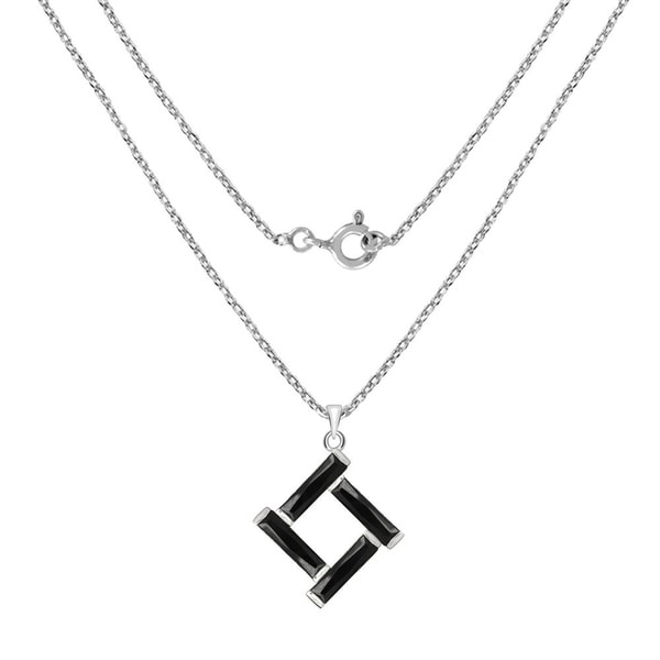 Sterling Silver Black Cubic Zirconia Pendant /& Chain New