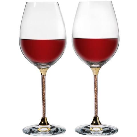Crystal Wine Glasses Set 18.5 oz Lead Free Gold Crystal Sparkling Wine Wedding