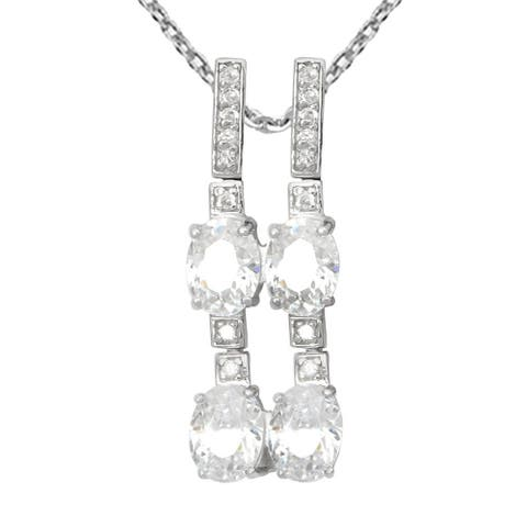 Cubic Zirconia Sterling Silver Oval Chain Pendant by Essence Jewelry