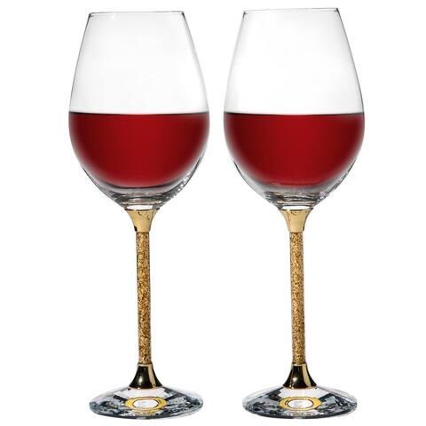 Matashi Crystal Gold Foil Wine Glasses Set 15.5 oz- Lead-Free Gold Crystal Sparkling Wine Wedding Glasses