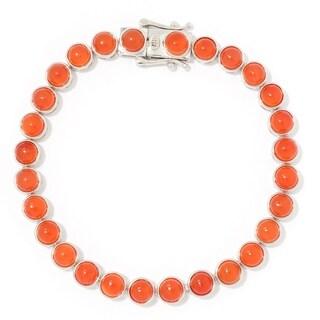 """Pinctore Sterling Silver 7.25"""" Round Carnelian Line Bracelet"""