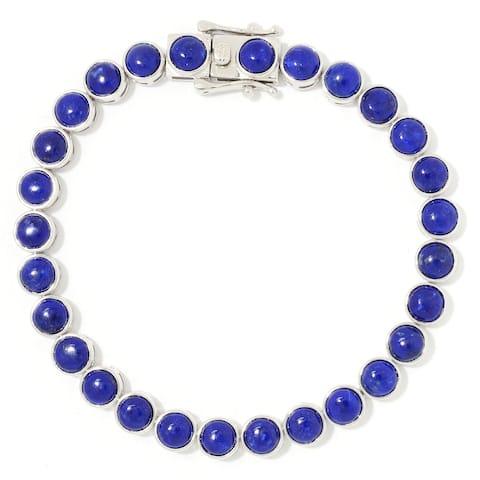 "Sterling Silver 7.25"" Round Lapis Line Bracelet"