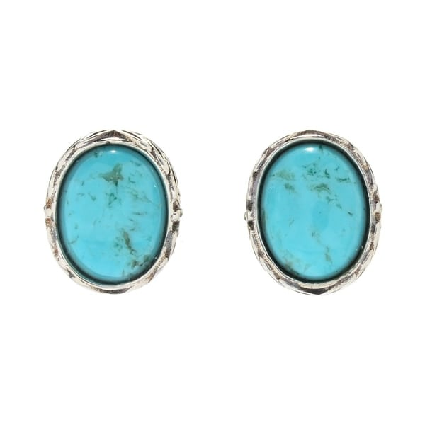 Pinctore Sterling Silver Oval 8 Turquoise Stud Earrings
