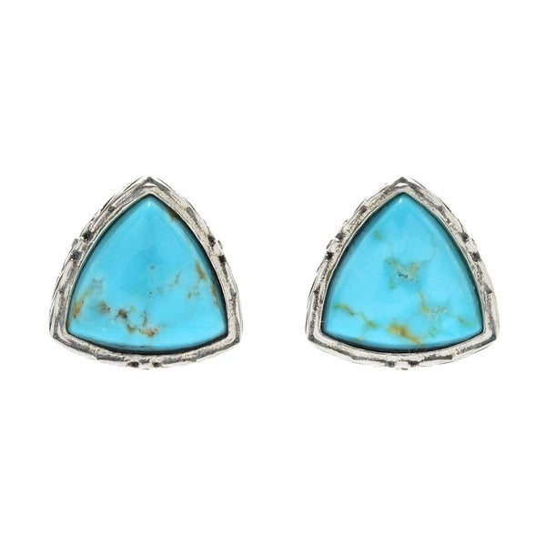 Pinctore Sterling Silver Trillion 8 Turquoise Stud Earrings