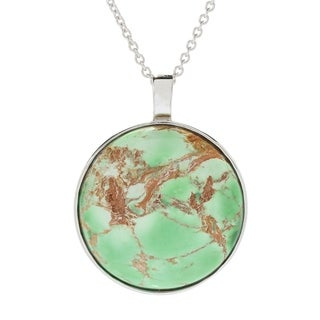 Pinctore Sterling Silver 24mm Round Variscite Pendant W 18 Cable Chain