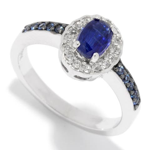 Pinctore Sterling Silver 1.01ctw Kyanite, White Topaz & Sapphire Ring