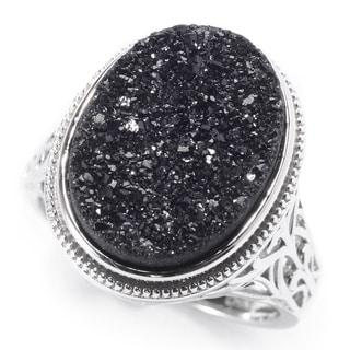 Pinctore Sterling Silver 16 X 12mm Oval Black Drusy Filigree Ring