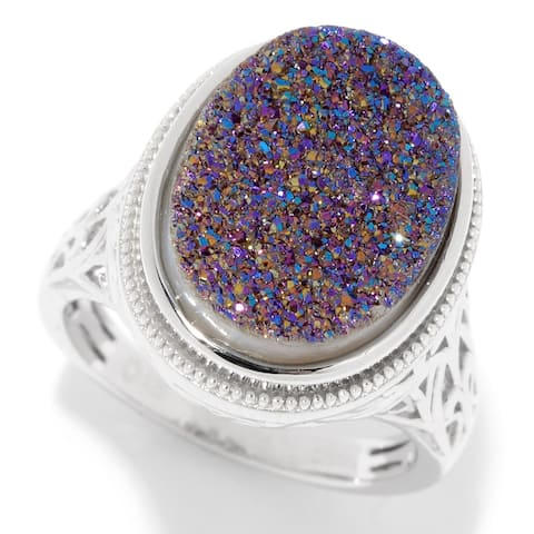 Pinctore Sterling Silver 16 x 12mm Oval Mystic Drusy Filigree Ring