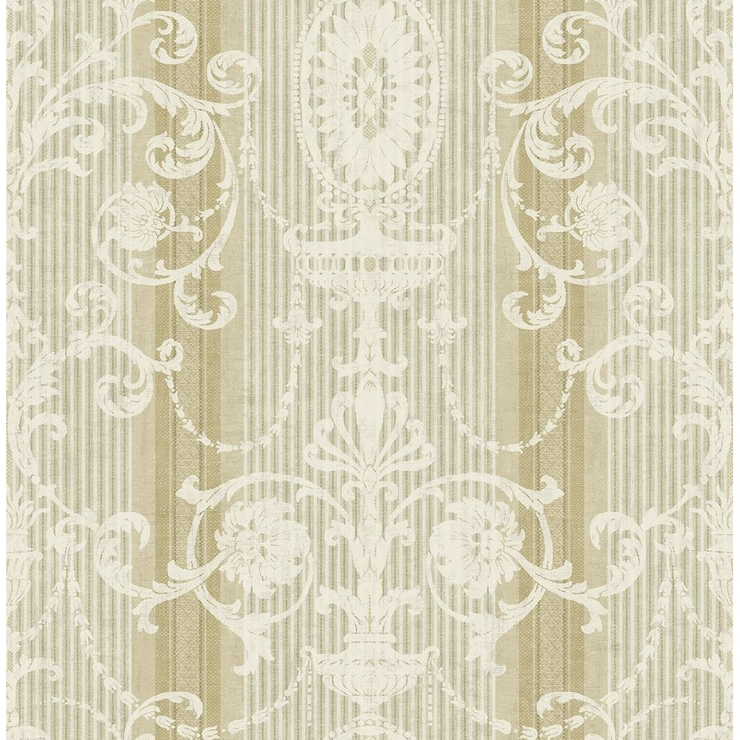 Shop Victorian Striped Scroll Wallpaper On Sale Overstock