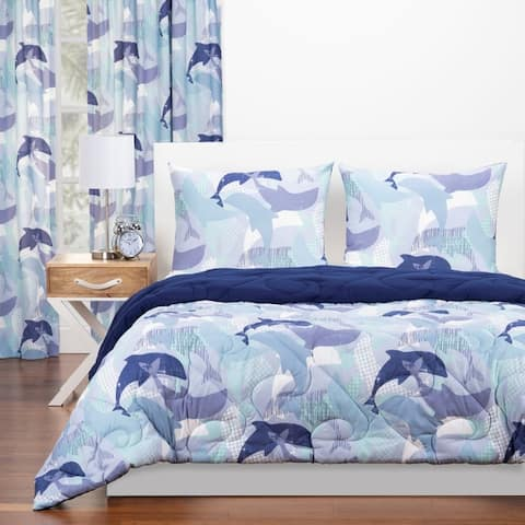 Crayola Life's Porpoise Reversible Comforter Set In Blue
