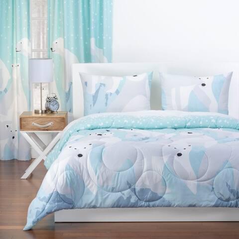 Crayola White Bear Reversible Comforter Set in Blue