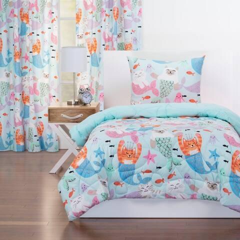 Crayola Purrmaids Reversible Comforter Set In Blue