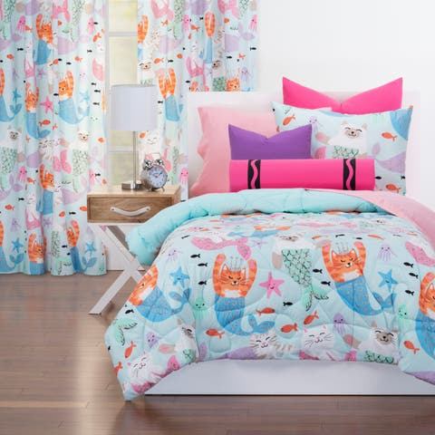 Crayola Purrmaids Reversible Comforter Set In Blue