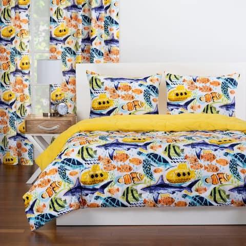 Crayola Yellow Submarine Reversible Comforter Set In Yellow
