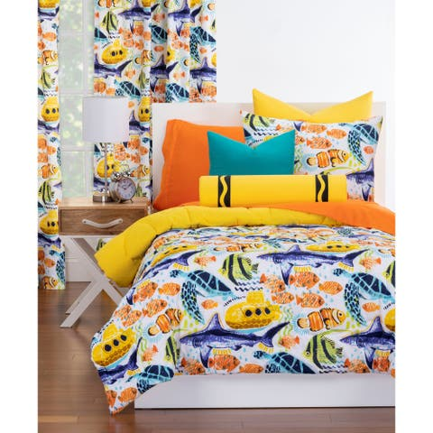 Crayola Yellow Submarine Reversible Comforter Set in Yellow