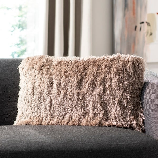 Safavieh Chic Shag Decorative Pillow -Beige
