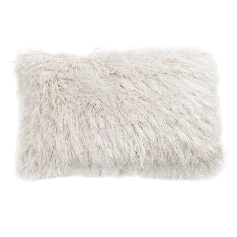 Safavieh Shag Modish Metallic Decorative Pillow -Metallic Snow