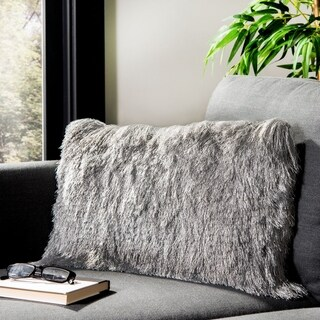 Link to Safavieh Chic Shag Decorative Pillow -Silver Similar Items in Decorative Accessories