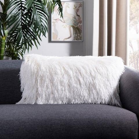 Safavieh Indoor/Outdoor Shag Decorative Pillow -White