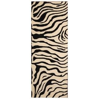 Handmade Zebra Wool Rug (India) - 3' x 8'