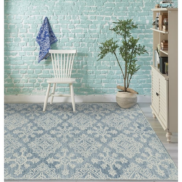 shop collingwood transitional blue hand tufted area rug 7 6 x 9 6