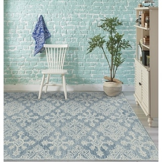 "Collingwood Transitional Blue Hand-Tufted Area Rug - 7'6"" x 9'6"""