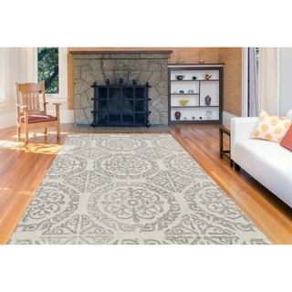 """Collingwood Transitional Ivory Hand-Tufted Area Rug - 7'6"""" x 9'6"""""""