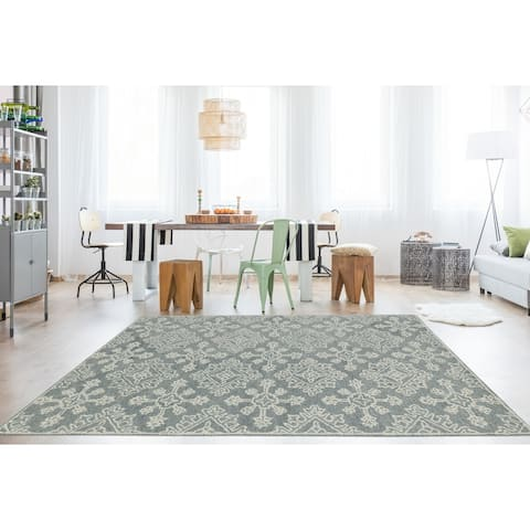 Collingwood Transitional Grey/ Green Hand-Tufted Area Rug - 8' x 11'