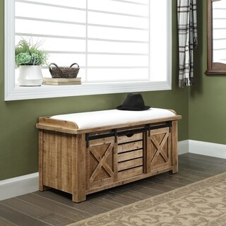 Malvern Natural 2-shelf Bench with 2 Sliding Doors